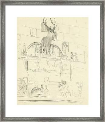 The Interior Of A Bar Framed Print by Carl Oscar August Erickson
