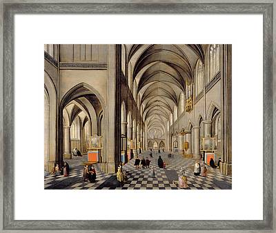 The Interior Of A Gothic Church Framed Print by Hendrik the Younger Steenwyck