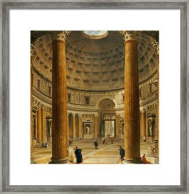 The Interior Of The Pantheon Framed Print by Giovanni Paolo Panini
