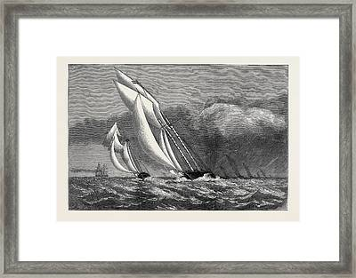 The International Yacht Race, The Corinne  And Enchantress Framed Print