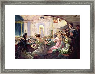 The Interval At The Theatre  Framed Print by Charles Henry Tenre