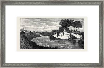 The Inundations In The Fens The Blown Sluice Framed Print