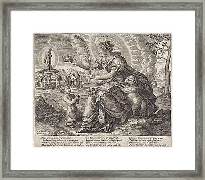 The Iron Age The Law Of The Grace Of The New Testament Framed Print by Hieronymus Wierix And Pieter Balten
