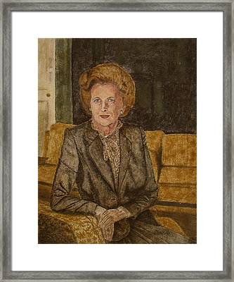 Portrait Of 'the Iron Lady' Using Natural Coloured Sands And Magnetised Iron Filings Framed Print by Environmental Sandpainter and Sand Artist Brian Pike