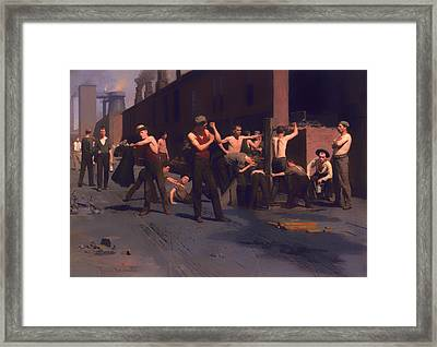 The Iron Workers Noontime  Framed Print by Mountain Dreams