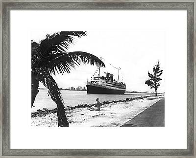 The Iroquois In Biscayne Bay Framed Print by Underwood & Underwood