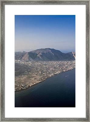 The Island Of Santorini Showing Moni Profiti Ilia-greece Framed Print