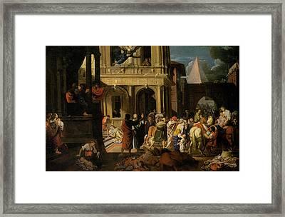 The Israelites Leaving Egypt Framed Print by Johann Heiss