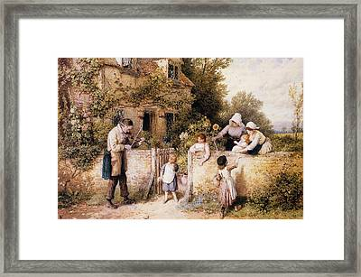 The Itinerant Fiddler Framed Print by Myles Birket Foster