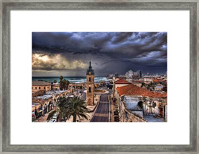 the Jaffa clock tower Framed Print