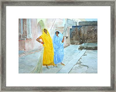 The Janitors Of Amber Fort Framed Print