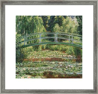 The Japanese Footbridge And The Water Lily Pool Framed Print