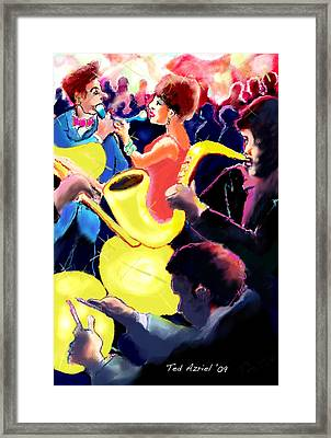 Framed Print featuring the digital art The Jazz Singers by Ted Azriel