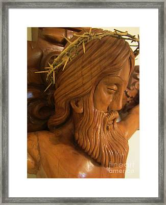 The Jesus Christ Sculpture Wood Work Wood Carving Poplar Wood Great For Church 2 Framed Print by Persian Art