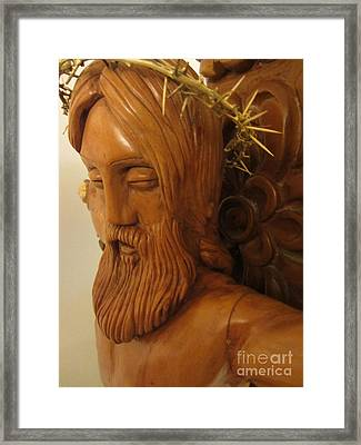 The Jesus Christ Sculpture Wood Work Wood Carving Poplar Wood Great For Church 3 Framed Print by Persian Art