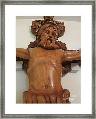 The Jesus Christ Sculpture Wood Work Wood Carving Poplar Wood Great For Church 4 Framed Print by Persian Art