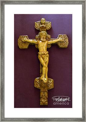 The Jesus Christ Sculpture Wood Work Wood Carving Poplar Wood Great For Church Framed Print by Persian Art
