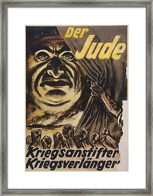 The Jew Warmonger, War Elongater. 1940s Framed Print