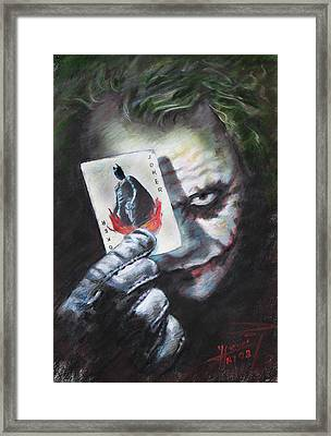 The Joker Heath Ledger  Framed Print by Viola El