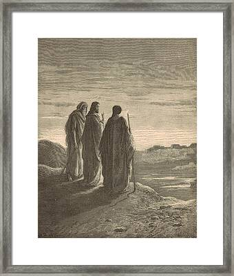 The Journey To Emmaus Framed Print by Antique Engravings