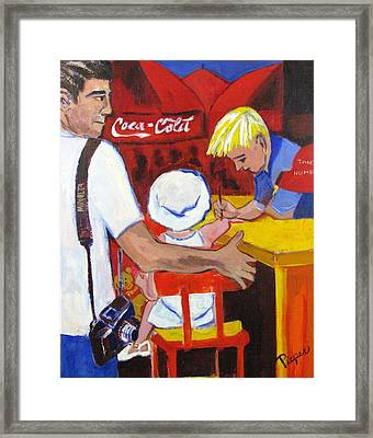 The Juandiced Eye Of Father And American Fare Framed Print by Betty Pieper