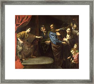 The Judgement Of Daniel Or, The Innocence Of Susanna Oil On Canvas Framed Print by Valentin de Boulogne
