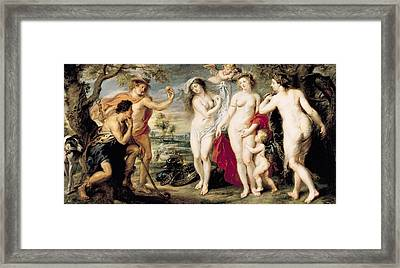 The Judgement Of Paris, 1639 Oil On Canvas Framed Print by Peter Paul Rubens