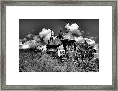 The Junk Castle In Black And White Framed Print