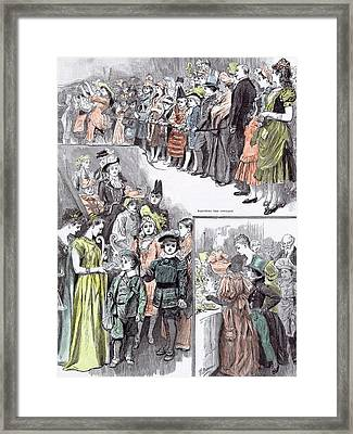 The Juvenile Fancy Dress Ball In 1891 Watching The Cotillon Framed Print by English School