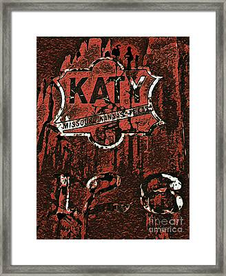 The K A T Y Railroad Sign Framed Print by R McLellan