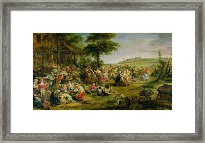 The Kermesse, C.1635-38 Oil On Panel Framed Print by Peter Paul Rubens