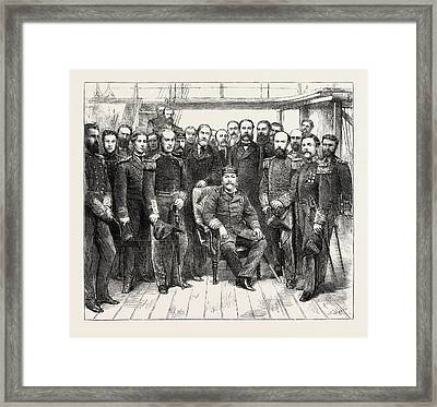 The King Of Portugal Visiting H.m.s Framed Print
