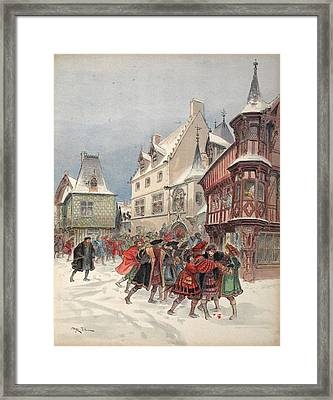The King Wounded During A Mock Battle Framed Print by Albert Robida