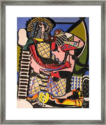 The Kiss Aka The Embrace After Picasso 1925 Framed Print by Mack Galixtar