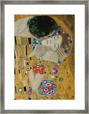 The Kiss Detail Framed Print by Gustav Klimt