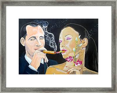 Framed Print featuring the painting The Kiss Edge Listen With Music Of The Description Box by Lazaro Hurtado