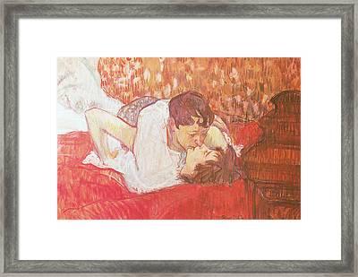 The Kiss Framed Print by Henri De Toulouse-Lautrec