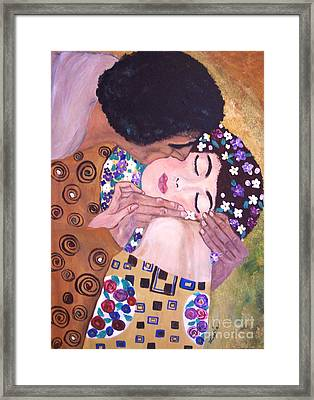 Framed Print featuring the painting The Kiss   by Lucia Grilletto