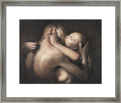 The Kiss Framed Print by Odd Nerdrum