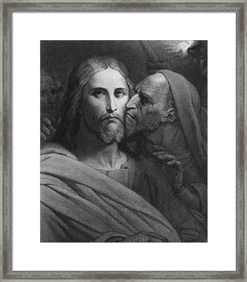 The Kiss Of Judas Framed Print by Ary Scheffer