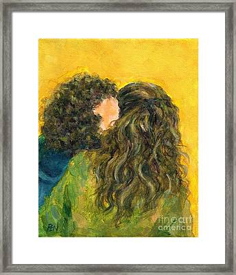 Framed Print featuring the painting The Kiss Of Two Curly Haired Lovers by Jingfen Hwu