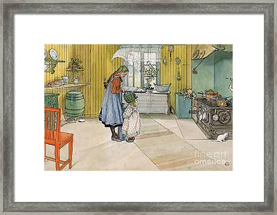 The Kitchen From A Home Series Framed Print by Carl Larsson