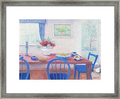 The Kitchen Table Laid For Lunch Framed Print by Jan Matson