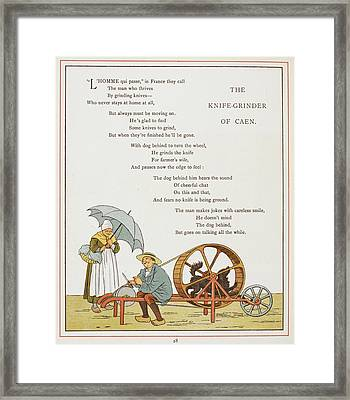 The Knife-grinder Of Caen Framed Print by British Library