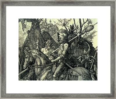 The Knight, Death And The Devil Framed Print