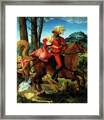 The Knight Young Girl And Death Framed Print by Hans Baldung