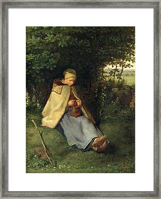The Knitter Or, The Seated Shepherdess, 1858-60 Oil On Canvas Framed Print by Jean-Francois Millet