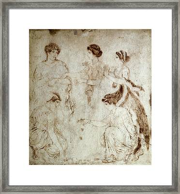 The Knucklebone Players. 1st C. Drawing Framed Print