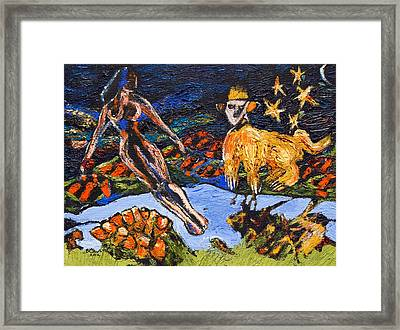 The Lady And The Chimera Framed Print by Brenda Clews