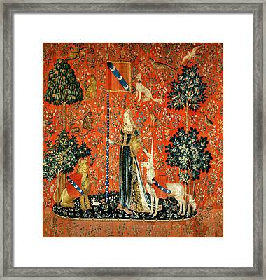 The Lady And The Unicorn Touch Tapestry Framed Print by French School